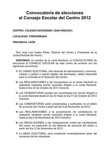 Convocatoria de elecciones 2012. - Colegio Diocesano San Ignacio ...