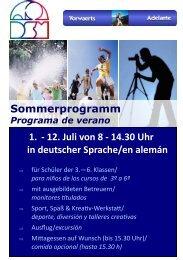 Sommerprogramm DSM / programa verano DSM - Deutsche Schule ...