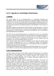 LA 21: Agenda zur nachhaltigen Entwicklung