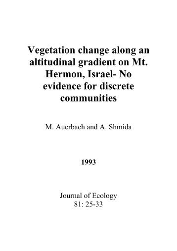 Vegetation change along an altitudinal gradient on Mt. Hermon ...