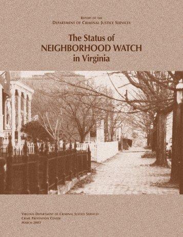 The Status Of NEIGHBORHOOD WATCH in Virginia – D