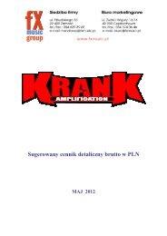 KranK - Sugerowany cennik detaliczny brutto w PLN - FX-Music Group