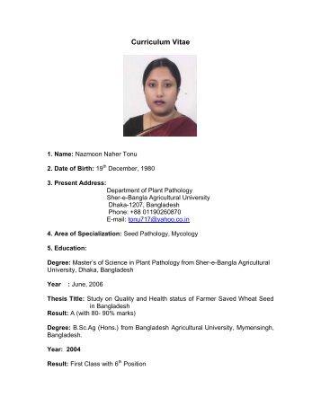 cv of tonu plant pathology sher e bangla agricultural university