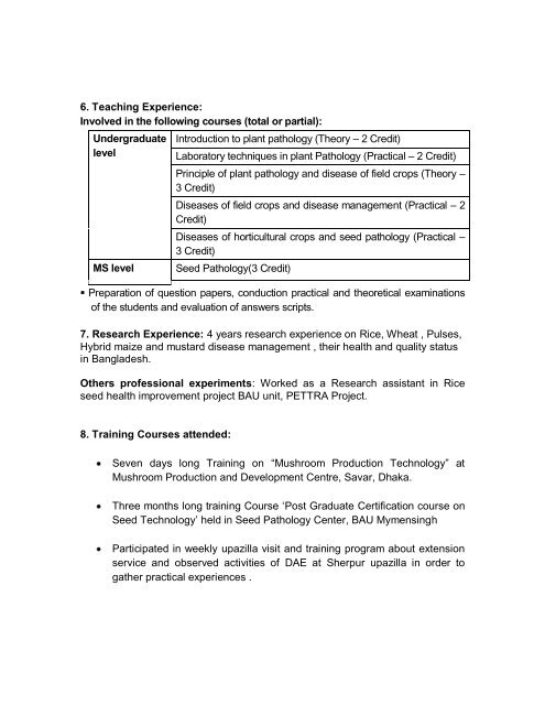 6  Teaching Experience: I