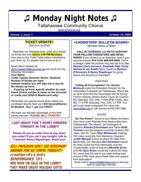 Monday Night Notes - The Tallahassee Community Chorus