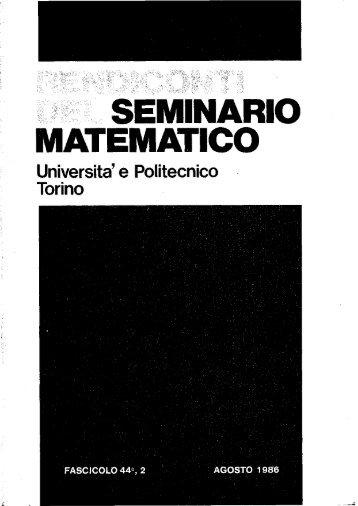 Vol. 44 No. 2 (1986) - Seminario Matematico