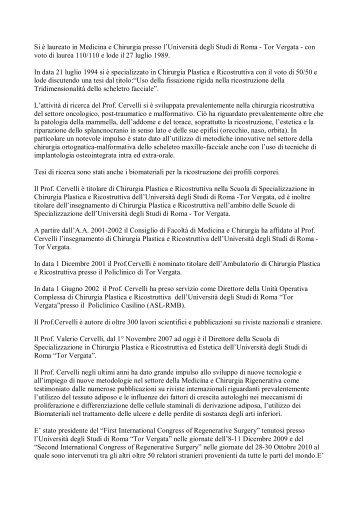 Visualizza Cv in pdf - Cattedra Chirurgia Tor Vergata