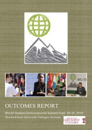 Outcomes Report - World Student Environmental Summit 2010