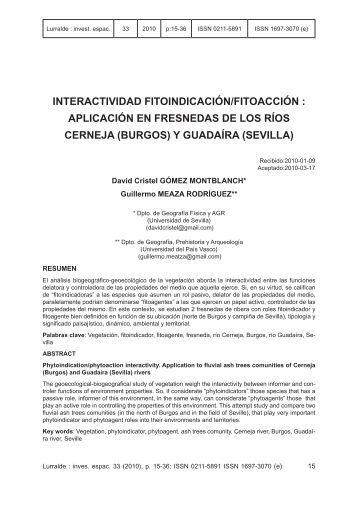 aplicación en fresnedas de los ríos cerneja (burgos) y ... - ingeba