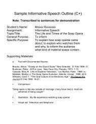 Sample Informative Speech Outline (C+)
