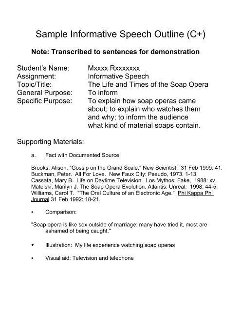 Sample Informative Speech Outline C