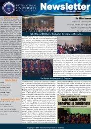 Newsletter - International University of Sarajevo