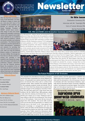 Newsletter - International University of Sarajevo