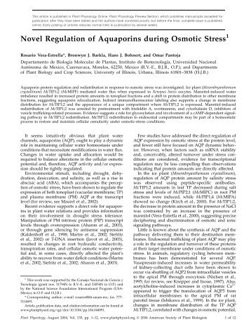 Novel Regulation of Aquaporins during  Osmotic ... - Plant Physiology