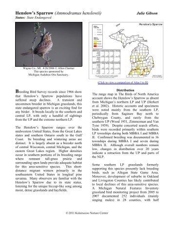 Henslow's Sparrow - Michigan Breeding Bird Atlas Website
