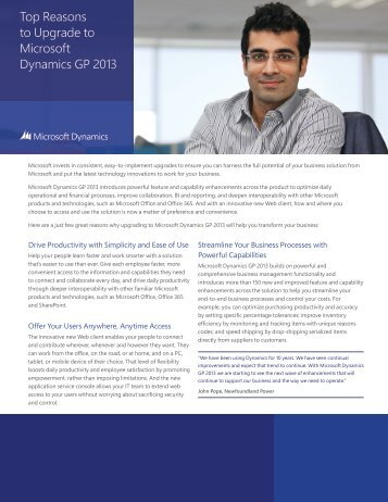 Top Reasons to Upgrade to Microsoft Dynamics GP 2013 - Tensoft