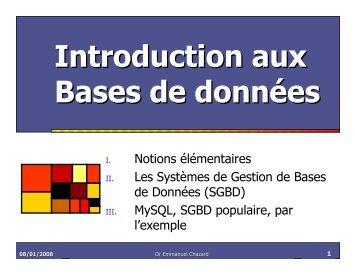 Introduction aux Bases de données - Chazard.org