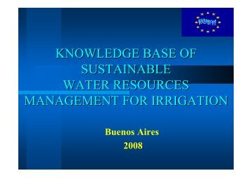 knowledge base of sustainable water resources management for ...