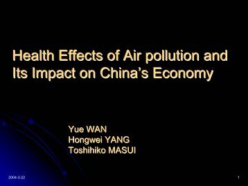 Economic Impact of Air Pollution in China