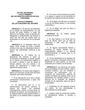 LEY DEL NOTARIADO - Gobierno de Aguascalientes