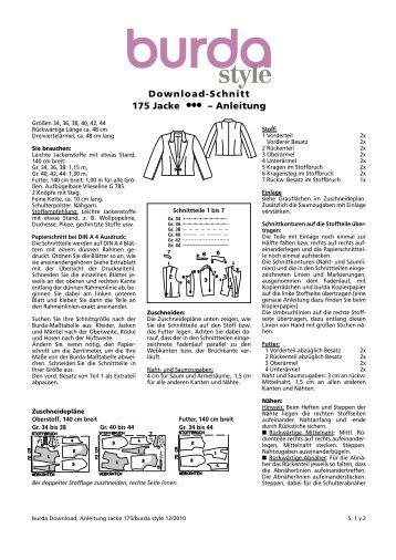 Download-Schnitt 175 Jacke  – Anleitung - Burdastyle