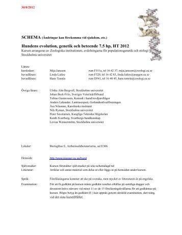 Schema - Populationsgenetik - Stockholms universitet