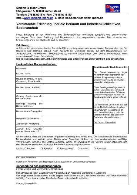 U- Bescheinigung Markelfingen - Meichle & Mohr GmbH