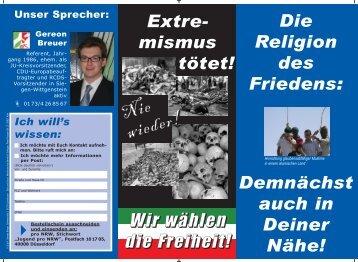 """den aktuellen """"Jugendflyer"""" von pro NRW und Hinweise zum Umgang"""