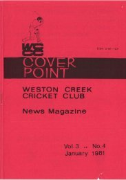 POINT WESTON CREEK CRICKET CLUB News Magazine