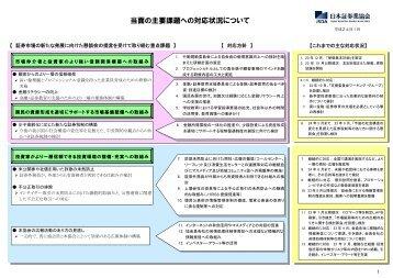 当面の主要課題への対応状況について - 日本証券業協会