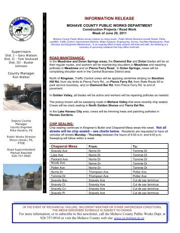 INFORMATION RELEASE - Mohave County