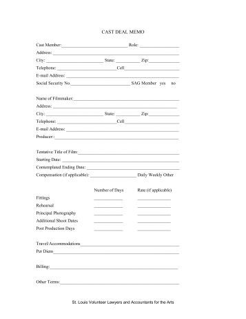 CAST DEAL MEMO - St. Louis Volunteer Lawyers and Accountants ...