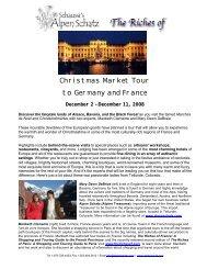 2008 Christmas Market Tour Flyer & Itinerary - Alpen Schatz