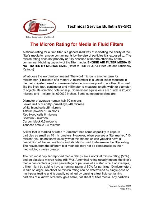 TSB-89-5R3 The Micron Rating for Media in Fluid