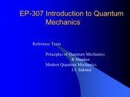 EP-307 Introduction to Quantum Mechanics