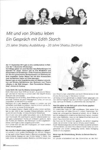 Mit und von Shiatsu leben Ein Gespräch mit Edith Storch