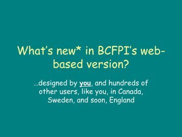 Web-Based BCFPI for Ontario Service Providers