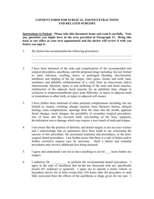 Consent Form For Surgical Tooth Extractions And