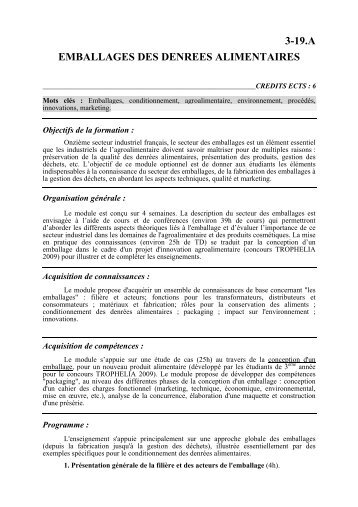 3-19.a emballages des denrees alimentaires - Montpellier SupAgro