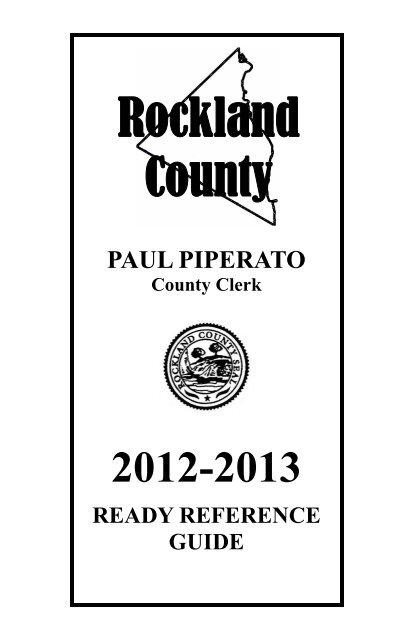 Ready Reference Guide - Rockland County Clerk
