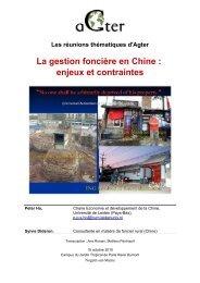 La gestion foncière en Chine : enjeux et contraintes - aGter
