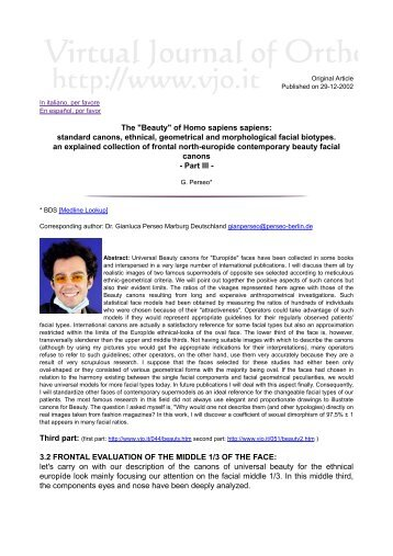 """Beauty"" Of Homo Sapiens Sapiens - Virtual Journal of Orthodontics"