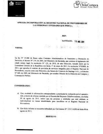 Resolución Proveedores Inscritos Julio 2011 - Chileproveedores