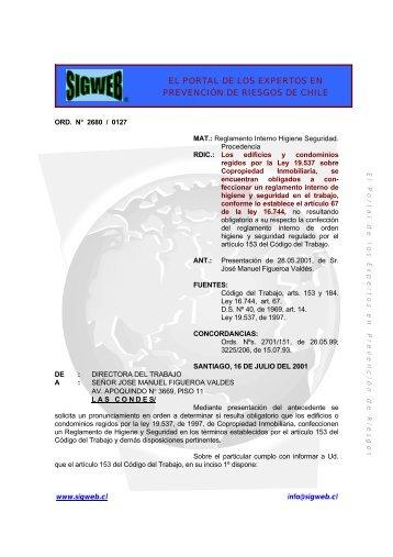 Dictamen de la Dirección del Trabajo sobre Reglamentos ... - Sigweb
