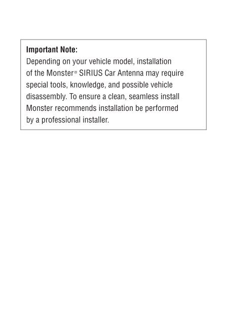 HOOK-UP INSTRUCTIONS Impo