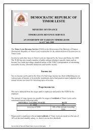DEMOCRATIC REPUBLIC OF TIMOR LESTE - Governo de Timor ...