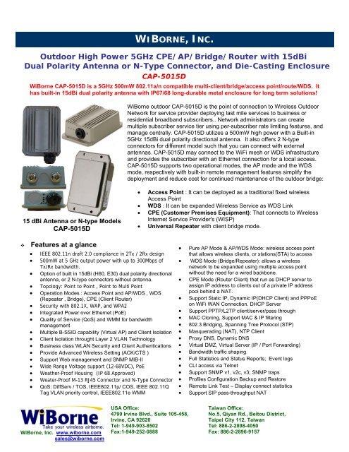 CAP 5015D datasheet - WiBorne com