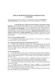 edital processo seletivo simplificado 001 2010 - Prefeitura de ...