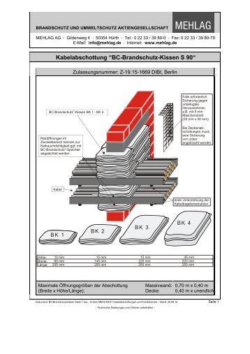BC-Brandschutz-Kissen S 90 - bei der MEHLAG AG