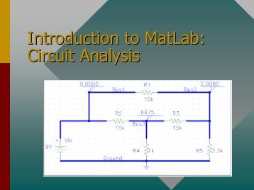 Introduction to MatLab: Circuit Analysis